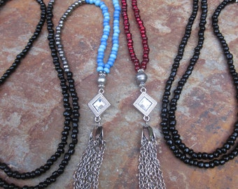 Long Beaded tassel necklace bohemian block colors chain tassel necklace black silver red blue seed bead necklace boho jewelry ladies