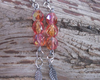 bohemian earrings boho earrings orange czech glass tiny antiqued silver leaf charm bohemian jewelry country chic moroccan dangle  earrings