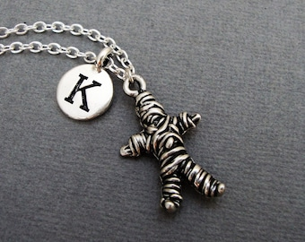 Voodoo Doll Necklace, Voodoo Doll Keychain, Custom Voodoo Doll Bangle Bracelet, Silver Voodoo Doll Keychain, Witchcraft Initial Necklace