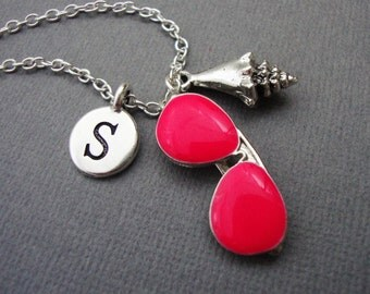 Summer Sun Beach Necklace, Pink Aviator Sunglasses and Seashell Bangle Bracelet, Summer Shades and Shell Keychain, Custom Sunglasses Keyring