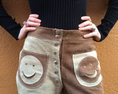 Suede Shorts / 1960s Vintage Brown Tan Smiley Face Shorts
