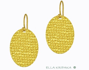 Sale 20% 10g and 23g Solid 22k Gold 55mm and 80mm Hammered Ovals Fine Gold Earrings Geometric by Ella Kripaka