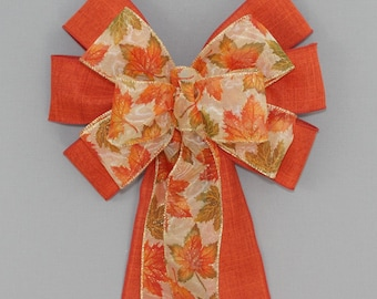 Maple Leaves Burnt Orange Fall Wreath Bow - Fall Decorations, Thanksgiving Decorations
