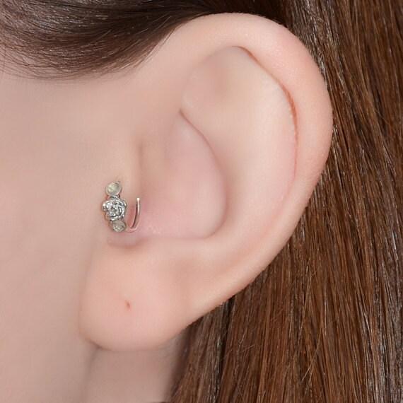 Tragus Earring 18g - Silver Flower Nose Ring - Topaz Tragus Hoop - Forward Helix Earring - Cartilage Earring - Rook Piercing - Conch Earring