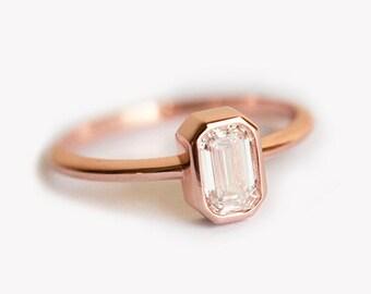 0.5 Carat Emerald Cut Engagement Ring, Emerald Cut Diamond Ring, 18k Rose Gold Diamond Ring
