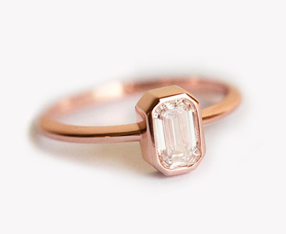 ... Emerald Cut Diamond Ring, 18k Rose Gold Diamond. 🔎zoom