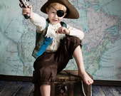 Kids Pirate Swashbuckler Costume: Damask Vest, Ruffle Shirt and 3/4 length Trousers to fit any little Jack Sparrow