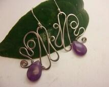 Sterling Silver Amethyst Earrings Handmade Wirework Wire Earrings Artisan Design Semi Precious Gemstone Jewel Fantasy Fairy Earrings