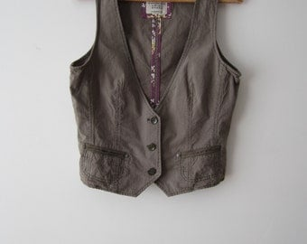 Women's Vest Striped Vest Brown Green Pink Vest Fitted Everyday Waistcoat Medium to Large Size