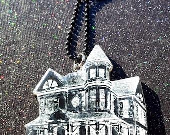 Haunted Mansion Pendant / Creepy Victorian Mansion Jewelry / Victorian House / Haunted House / Victorian Gothic Jewelry / Creepy Jewelry