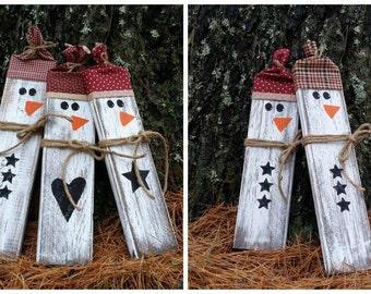 Distressed Rustic Wooden Snowmen, Christmas Decor, Reclaimed Wooden Snowmen, Primitive Christmas, Winter Decor, Free Shipping