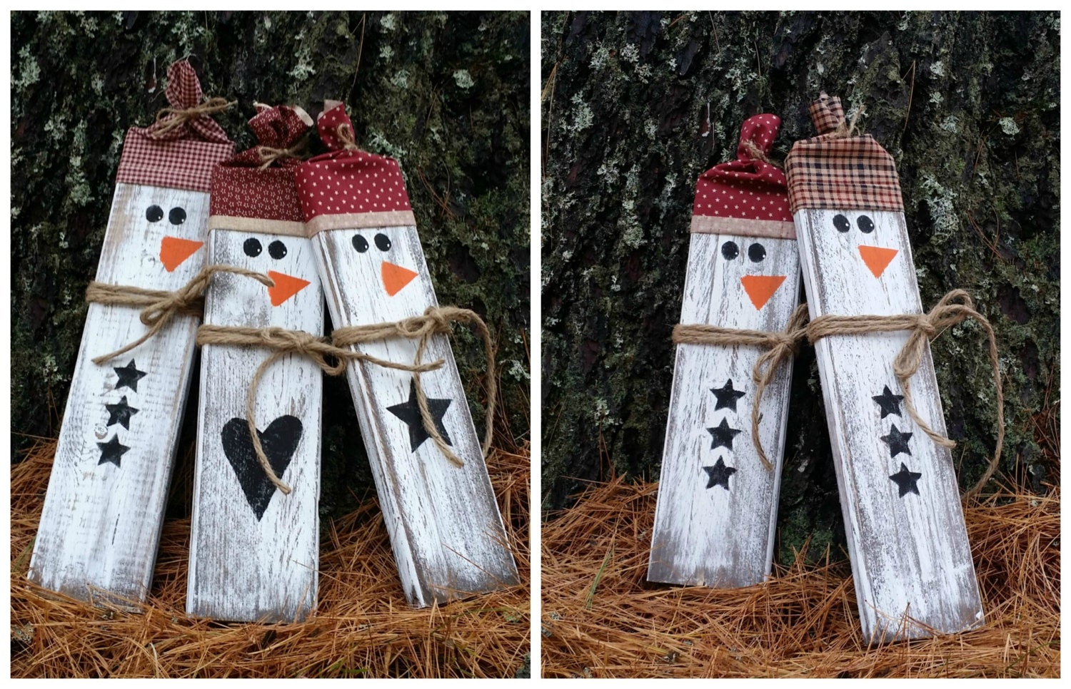 Distressed rustic wooden snowmen christmas decor reclaimed for Rustic snowman decor