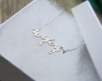 SALE- Silver Wifey Necklace, Bridesmaida Necklace, Dainty Necklace, Simple Necklace, Everyday Necklace, Bridesmaids Necklace