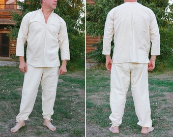 1950's Army Thermal Set / Rare Flannel Soviet Underwear: White Long Johns & Granddad Collar Shirt, Men's Soldier's Base Layer NEW Old STOCK