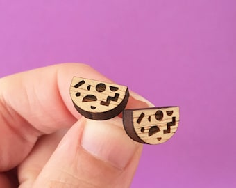 Shapeshifter - Wood Earring Studs with Sterling Silver posts - Geometric Pattern - laser cut - 80s