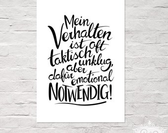 """cute as a button POSTER """"handlettering - emotional NOTWENDIG"""" DinA 4 typographic print"""