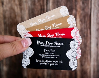 Business Cards - Custom Business Cards - Personalized Business Cards - Mommy Calling Cards - White Lace - P0121-7