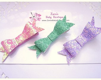 Glitter Bow Hair Clip Set, Set of 3 Baby Hair Clips, Pink, Purple, Green Sparkle Bows - ZBB