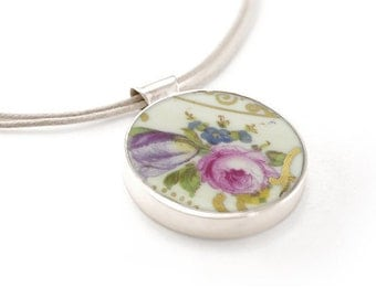 Roses statement pendant, pink china jewelry, porcelain pendants, romantic necklaces