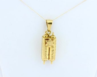 14 Karat Yellow Gold Torah Charm