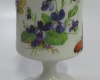 Limoges Butterfly and Violet Pedestal Bud Posy Vase
