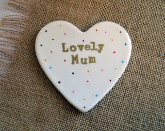 """Heart Shaped Ceramic Coaster with quote """"Lovely Mum"""""""
