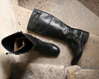 SALE -%50 french La Redoute Créations tall riding biker black leather boots 37
