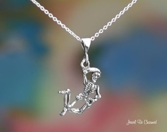 "Sterling Silver Dancing Skeleton Necklace 16-24"" Chain or Pendant Only"
