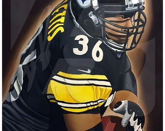 "Pittsburgh Steeler Hall of Famer Jerome Bettis "" 36"" Art Print"