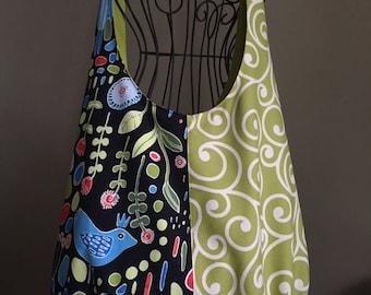 Lime Ivory Swirl / Black Ikea Print Boho Crossbody Slouch Tote Bag