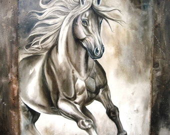 ORIGINAL HORSE PAINTING  on gallery wrapped canvas framed with genuine leather by Diana Turner 30 x 40 inches