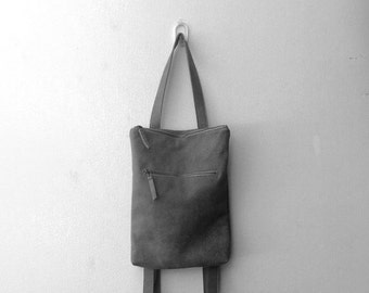 Gray leather backpack,Gray leather bag,Laptop bag,Gray shoulder bag,Zipper leather bag