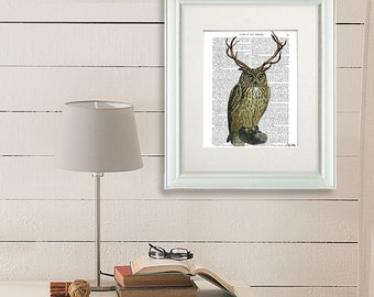 Marvelous Owl With Antlers   Owl Print Owl Decor Owl Illustration Owl Art Print Bird  Antlers Deer Part 28
