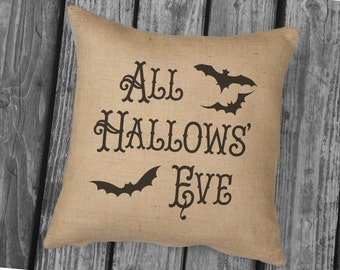 All Hallows Eve Halloween pillow. Burlap Pillow. Halloween Decor. Decorative throw. Halloween Decorations, Vintage Look