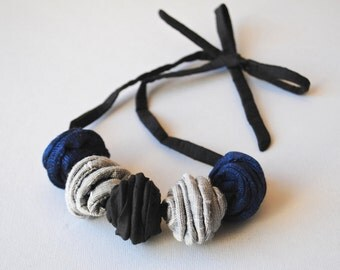 Textile Jewellery|Contemporary Beaded Necklace|PANFILO Shantung Necklace|Statement Necklace|Black, Silver & Blue|Mother's Day Gift Ideas
