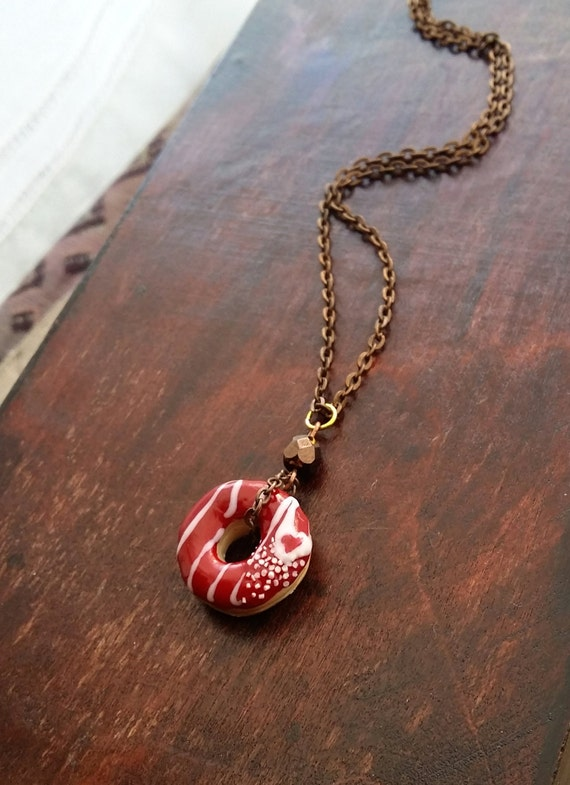 Red Velvet Donut Charm Necklace From Polymer By