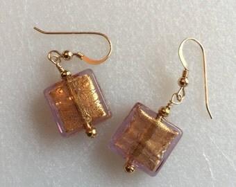 Light Rose and 24k Gold Italian Venetian Glass Earrings