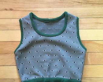Vintage Boy's 1950's Green Sweater Vest! Size 3-4