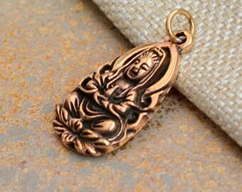 Bronze Kuan Yin Pendant,Quan Yin,Bronze Pendant,Bronze Charms,Goddess of Compassion,Quanyin,Goddess Charms, Yoga Jewelry, Female Buddha