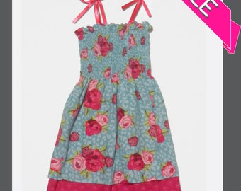 ON SALE - Girls 2T and 3T Blue and Pink Rose Shirred Sundresses