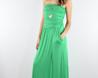 Tube top maxi dress with side pocket S to XL