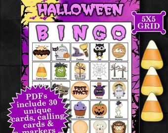 Halloween - Purple 5x5 Bingo printable PDFs contain everything you need to play Bingo.