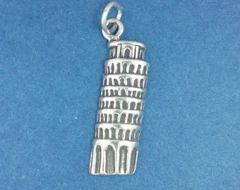 Leaning TOWER Of PISA Charm, Italy .925 Sterling Silver Charm