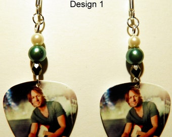 KEITH URBAN 1-4 Guitar Pick Beaded Earrings - Handmade in USA