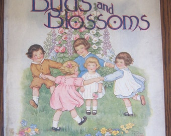 """Vintage Children's Book """"Buds And Blossoms"""" 1918 Book Colorful Pictures Vintage Pictures"""