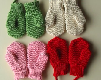 Merino Wool mittens for toddler/ children. Hand Knit Accessory for girls and boys. Red mittens. More colors available. Size 1-3-6-10 years