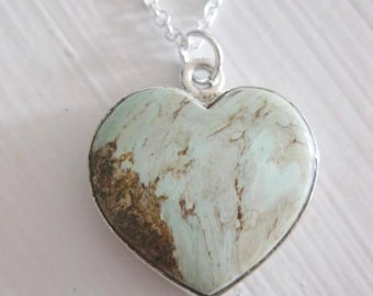 Necklace ~ Heart Variscite stone  Sterling Silver Pendant & Chain   18""