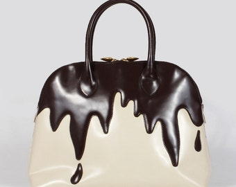 Vintage MOSCHINO Chocolate Covered Leather Bag 1991