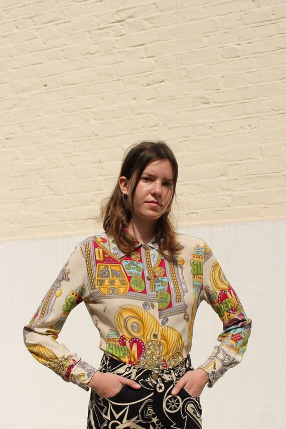 Vintage Moschino Slot Maschine Women's Shirt UK10