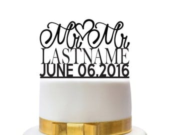 Custom wedding cake toppers Mr and Mr with name and date, for a gay wedding couple, other colors also possible, custom made